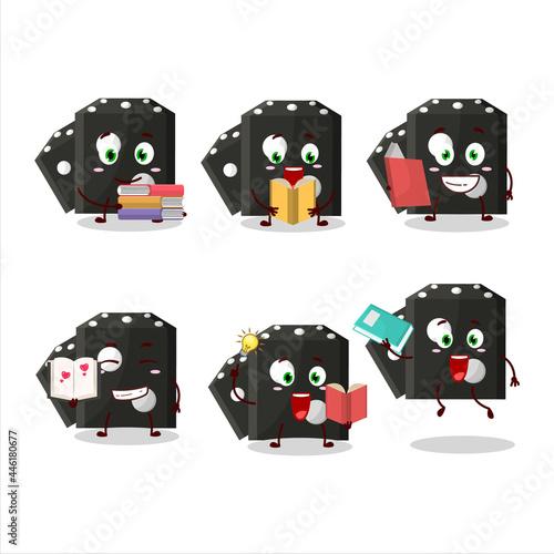 A picture of black dice new cartoon character concept reading an amusing book Tapéta, Fotótapéta