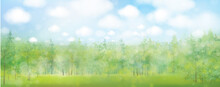 Vector Green Forest And Blue Sky,  Nature Background.  Summer  Landscape.