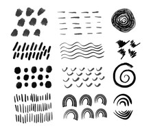 Abstract Minimalist Hand Drawn Grunge Black Ink Design Elements Set. Collection Of Brush Strokes, Doodle Patterns. Circles, Waves, Lines, Spiral Vector Clip Art Isolated On White Background