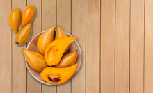 Lucuma Fruit In Wooden Bow With Space On Wooden Table Background, Tropical And Healthy Diet Fruit
