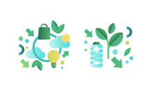 Eco Friendly Technologies Icons Set, Battery, Light Bulb, Green Energy And Environment Protection Concept Flat Vector Illustration