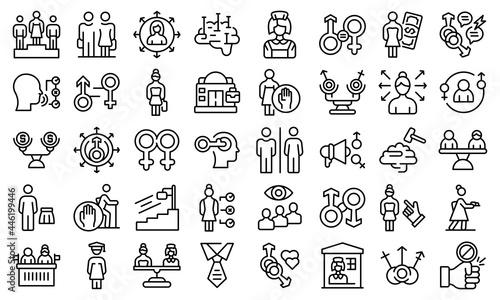 Fotografie, Obraz Stereotype icons set outline vector