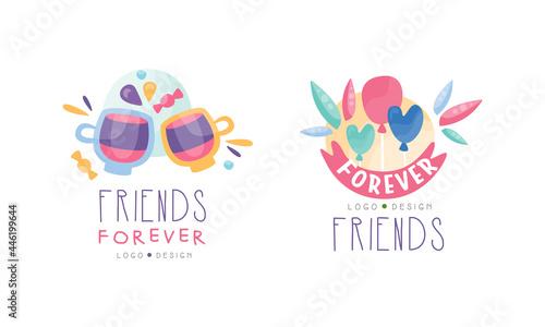 Fotografie, Obraz Set of Friends Forever Logo, Happy Friendship Hand Drawn Badges, Banner, Poster,