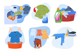 Collection of clean and dirty clothes illustration laundry pile washed clothing, apparel with stains