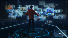 Internet Interface Concept: Person With Virtual Reality Headset Enters Cyberspace Internet Interface And Browses Through Web Content, Watches Video Streaming, Social Media