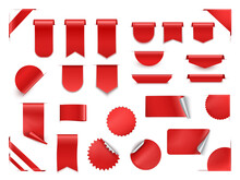 Realistic 3d Red Sale Tags, Labels, Stickers And Ribbons Set. Online Shopping Web Banners.