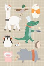 Cute Animal Elements Set Vector