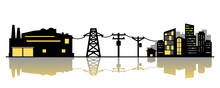 Power Plant Generates Electricity To Transmit Electricity To Electric Poles And City House On White Background Icon Flat Vector.