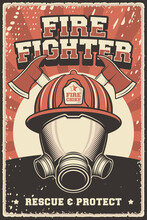 Retro Vintage Illustration Vector Graphic Of Firefighter Fire Department Service Fit For Wood Poster Or Signage