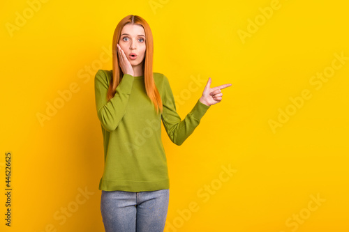 Fototapeta Photo of impressed orange hair young lady point empty space wear green sweater i