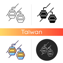 Maokong Gondola Icon.Taipei Lift Transportation. Crystal Travel Cabins. Asian Trip. Taiwan Cable Car. Mountain Chariot. Linear Black And RGB Color Styles. Isolated Vector Illustrations