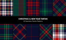 Plaid Pattern Set For Christmas Holiday Designs. Dark Textured Tartan Checks In Red, Green, Yellow, Navy Blue For Flannel Shirt, Duvet Cover, Blanket, Skirt, Scarf, Other Modern Fashion Fabric Prints.