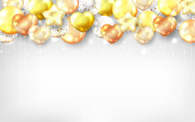 Gold Balloons Background For Celebration Card