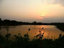 Beautiful Landscape Of Sunset On The Lake Water