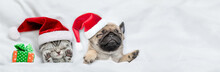 Kitten And Pug Puppy Wearing Santa Hats Sleep Together With Gift Box Under A White Blanket On A Bed At Home. Top Down View. Empty Space For Text