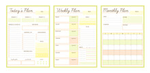 4 Set Of The Daily, Weekly, Monthly And Check Memo Planner (Nature). Retro Planner Bullet Journal Memo Pad. Clear And Simple Printable To Do List. Realistic Vector Illustration.