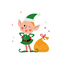 Cute Little Santa Elf Character Smiling And Winking At Presents Bag Isolated. Vector Flat Cartoon Illustration. For Christmas Cards, Patterns, Banners, Stickers, Tags Etc.