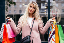 Attractive Blond Hair Lady Hold Hands Many Bags Shopper Woman Dressed Pink Warm Autumn Spring Coat Carrying Enjoying New Clothes Packs Things After Shopping Buyings Sales Black Friday Concept