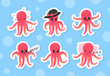 Cute Funny Pink Octopus with Tentacles Sleeping on Pillow and with Angry Face Vector Sticker Set