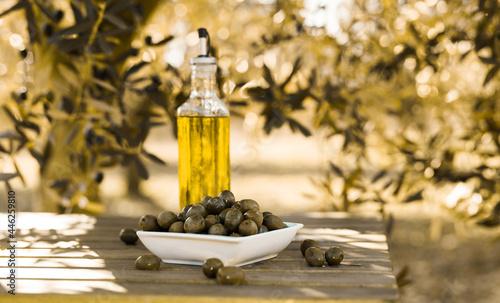 Obraz na plátně green olives and oil on table in olive grove