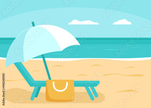 Billede på lærred Summer sea and beach with deck chair and umbrella for vacation