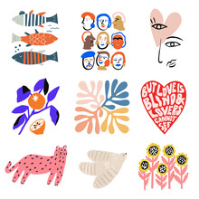 Vector Scandinavian Icon Illustration Collection Set Graphic Resource Cute And Retro Fish, Human, Line Art, Orange , Leaf, Heart, Cat, Bird, Sunflower