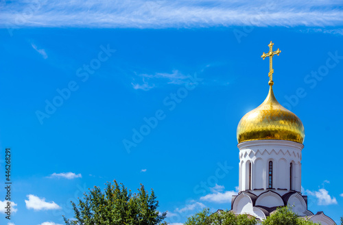 Fotografering Domes of the Orthodox Church with crosses against the blue sky