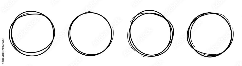 Obraz Hand drawning circle line sketch set. Art design round circular scribble doodle - stock vector. fototapeta, plakat