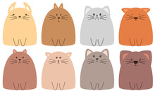 Cute Cartoon Cats Collection In Different Colors