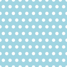 Polka Dots Seamless Pattern. White Polka Dots On A Blue Background. Vector Pattern.
