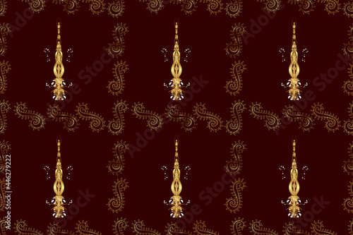 Seamless pattern with interesting doodles on colorfil background Fototapeta