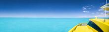 Yellow Catamaran In Caribbean Sea. Long Banner