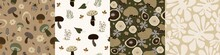 Set Of Seamless Nature Pattern. Abstract  Shapes, Elements, Leaves, Plants, Mushrooms, Autumn, White And Brown Background, Hand Drawn, Minimalist,  Packaging, Wallpaper, Design For Textiles, Vector
