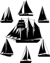 Sailing Ships  Silhouettes - Vector