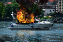 The Yacht Is Burning. Fire On Board The Ship
