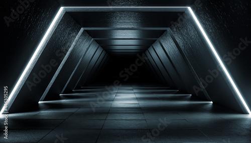 Valokuva Abstract Futuristic dark corridor interior design