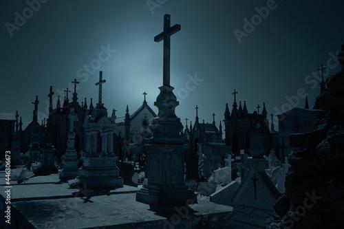 Obraz na plátně Old cemetery at night