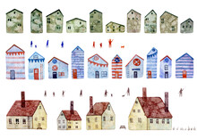 Set Of Watercolor Illustrations Of Different Houses Isolated On White Background. Old European Houses With Tile Roofs. Blue Marine Houses With Flags, Lifebuoys. Green Houses With Watercolor Stains.