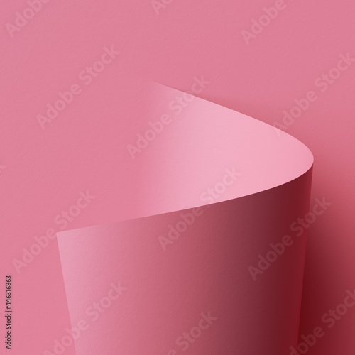 Foto 3d render, abstract background with pink paper scroll, page curl