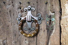 The Ornate Door Handle To St Marys Church In The Cotswold Village Of Edgeworth, Gloucestershire UK