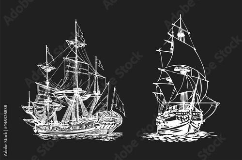 Fényképezés Sailing ship, graphic hand drawing