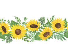 Sunflowers And Leaves Horizontal Border Watercolor Illustration Seamless Ornament, Perfect For Cards, Invitations, Fabric With Copy Space