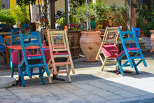 Cafe Multicolored Chairs. Greece, Corfu