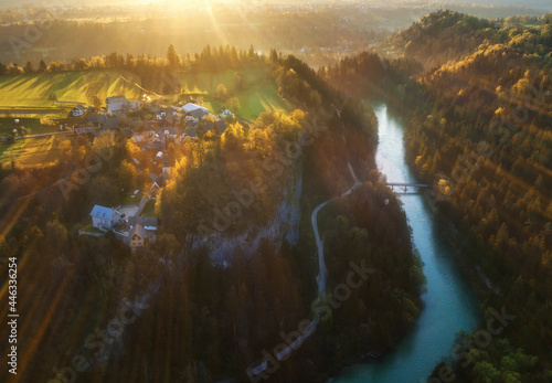 Fotografering Town and river with bird eye view from above