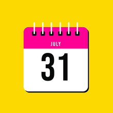July Day 31. Number Thirty-one On A White Paper With Pink Color Border On A Yellow Background Vector.Calendar Illustration