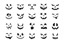 Face Halloween Icon Set. Black Creepy Smile, Smiling Mask, Pumpkin Grin. Cute And Funny Muzzle. Scary Spooky Devils Eyes And Smile, Variety Mouth And Nose. Isolated Vector Illustration Silhouette