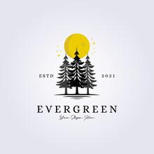 Evergreen, Woodland, Adventure Forest Logo Lake Riverside Creekside Vector Illustration Silhouette Vintage Symbol Design