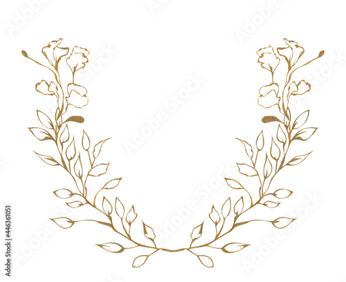Fotografie, Obraz Illustration of watercolor drawing golden contours of plant leaves on a white is