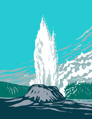 Castle Geyser a Cone Geyser Located in the Upper Geyser Basin in Yellowstone National Park Teton County Wyoming USA WPA Poster Art