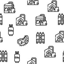 Biogas Energy Fuel Vector Seamless Pattern Thin Line Illustration